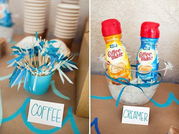 Coffee Station with DIY Stir Sticks & Creamer - Surf Birthday Party