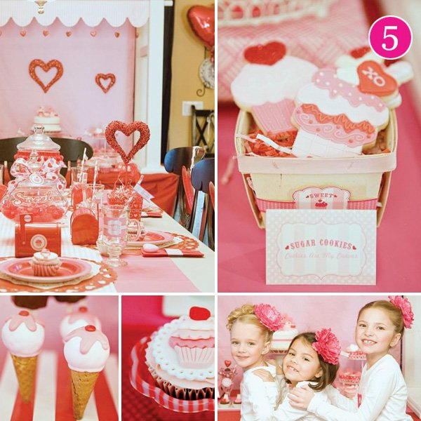 Sweet Shoppe Valentine's Day Party with Ice Cream Cake Pops and Cupcake Sugar Cookies
