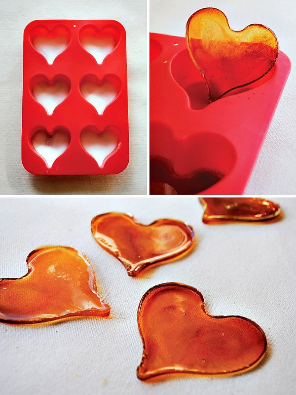 Homemade Sugar Hearts for Creme Brulee