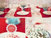 Red and Aqua Valentine's Day Dinner Party