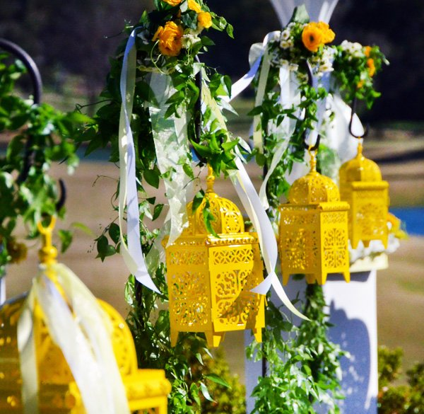 Yellow Moroccan Lamps - Wedding Ceremony Decorations