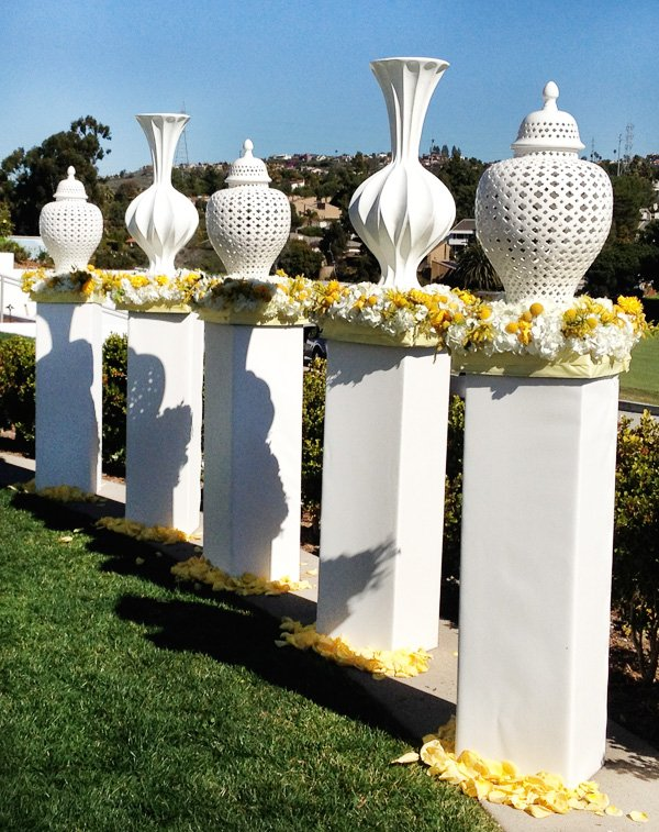 Modern Yellow and White Wedding Ceremony - Vase Pillars