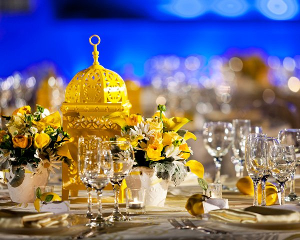 Yellow and White Wedding Tablescape with Moroccan Lamp Centerpiece