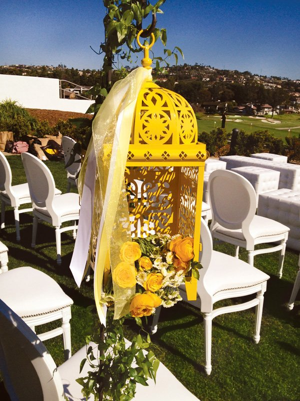 Yellow Moroccan Lamp with Flowers Inside - Wedding Decorations