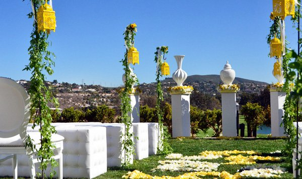 Modern Yellow and White Wedding Ceremony - White Columns