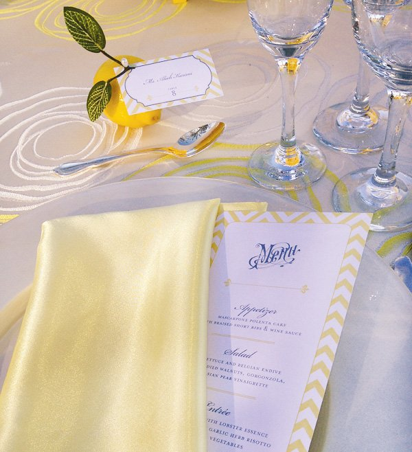 Yellow and White Wedding Tablescape with Lemon Place Cards