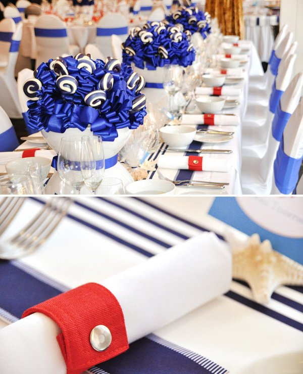Nautical Christening Party table settings and seating arrangements with simple napkin rings