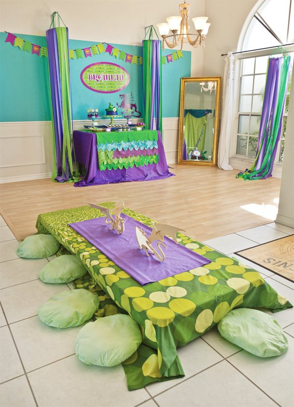 puff the magic dragon birthday party room setup with dessert table