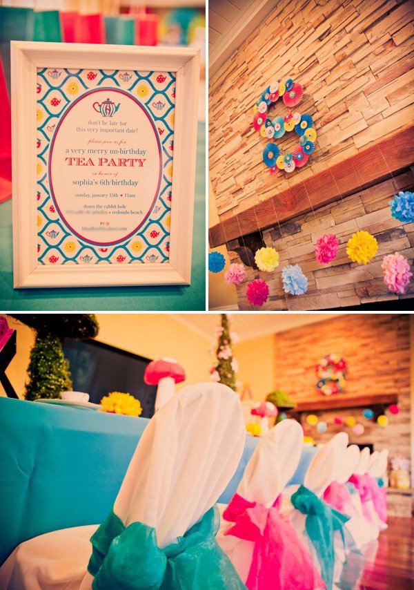 alice in wonderland birthday party mantle decoration and chair covers with invitation