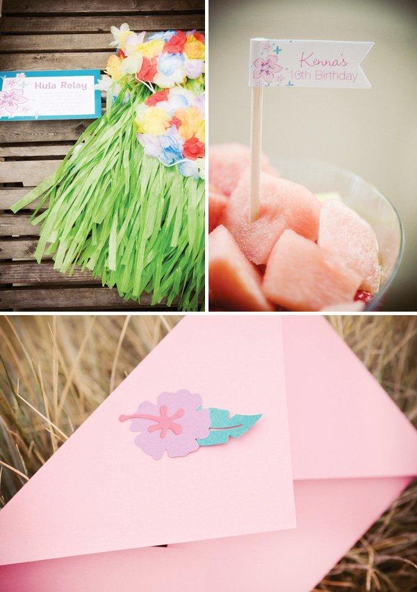 luau birthday party hula skirts, food flags and invitation envelope
