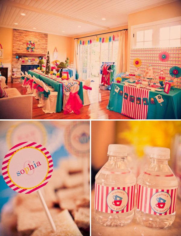 alice in wonderland birthday party room setup and closeup on water bottle printables