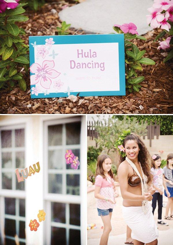 luau birthday party hula dancing
