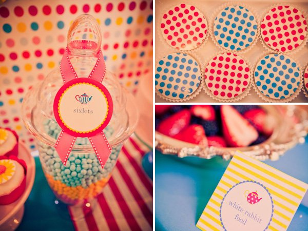 alice in wonderland birthday party arranged desserts and candy and labels
