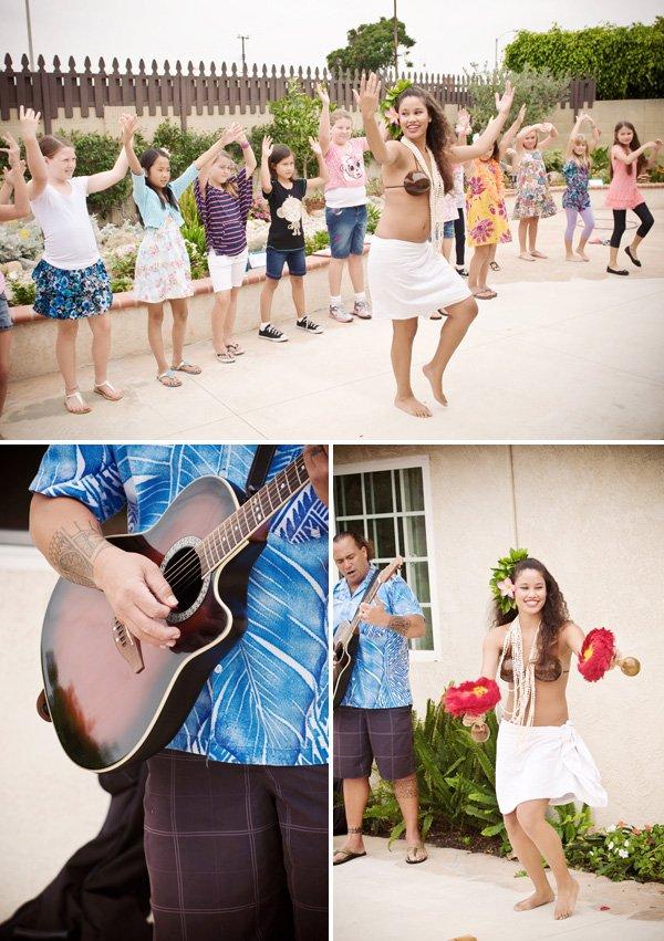 luau birthday party hula dancing lessons