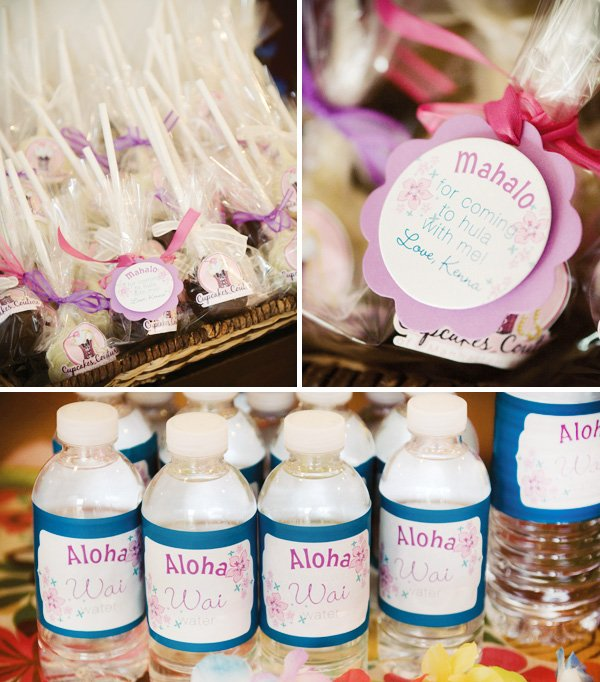 luau birthday party labels for water bottles and the cakepop party favors