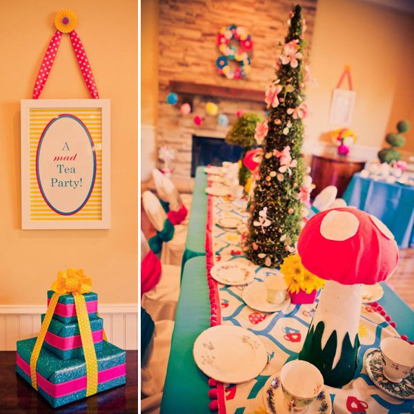 alice in wonderland birthday party wall decorations and tea party table
