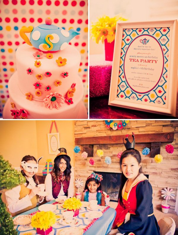 alice in wonderland birthday party invitation, cake and dressed up tea party