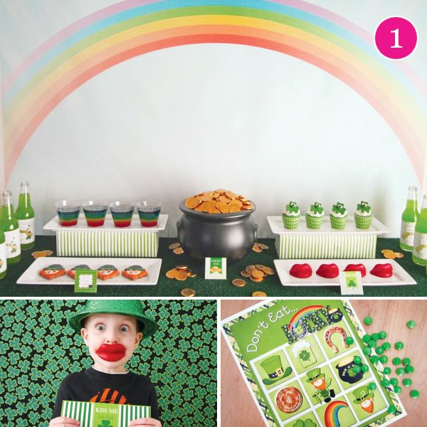 st. patrick's day party and dessert table with bingo and photo booth props