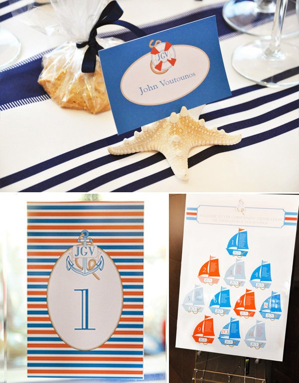 Nautical Christening Party name tags and signs