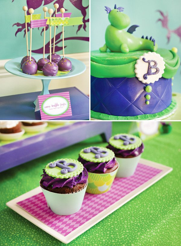 puff the magic dragon birthday party dessert table close up on cupcakes, cake pops and cake