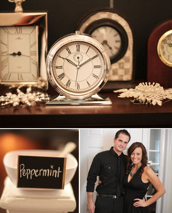 gender reveal new years countdown party clocks and couple
