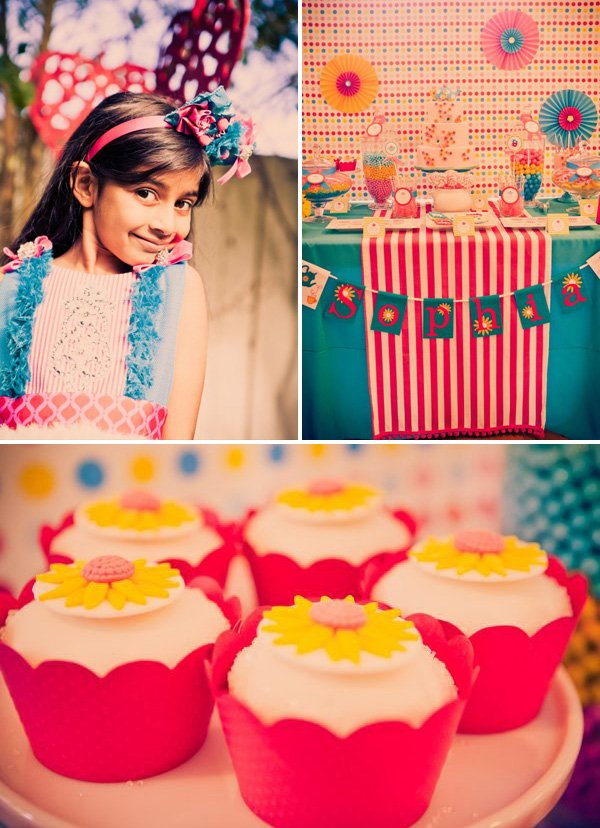 alice in wonderland birthday party with dessert table and closeup on cupcakes