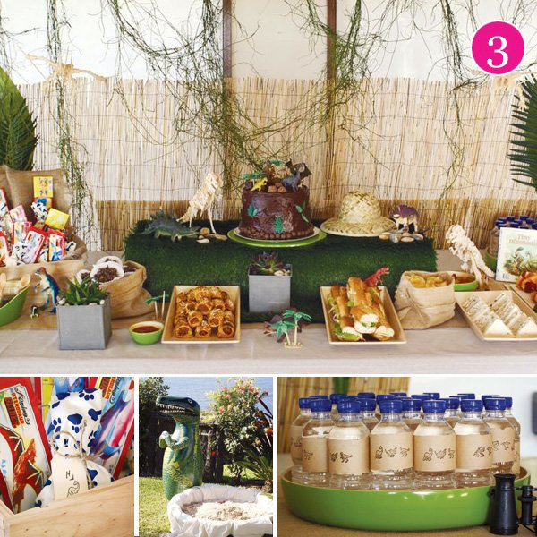 dinosaur party dessert table and water bottles in party of 5 post