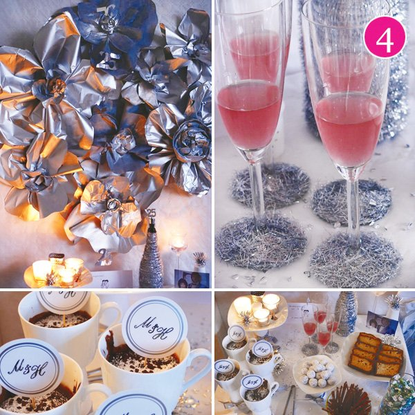 silver wedding table arrangement and back drop design with hot chocolate toppers and champagne class decorations for a 25th wedding anniversary