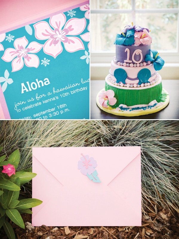 luau birthday party cake and invitations with envelopes
