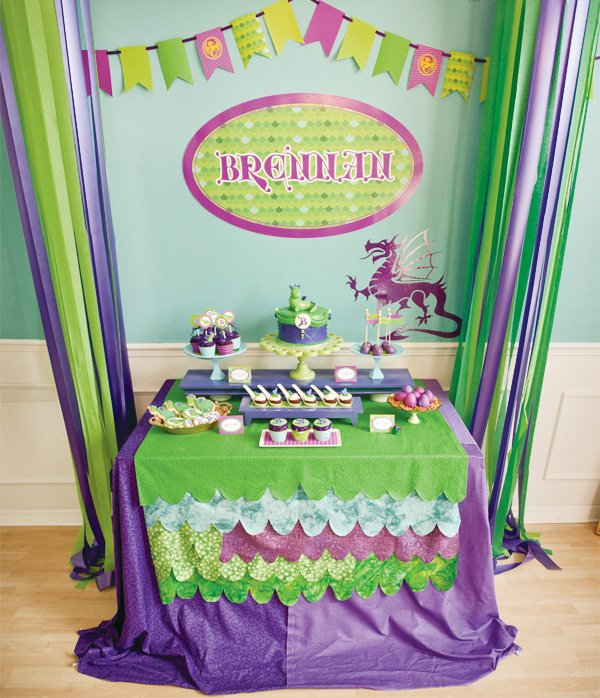 puff the magic dragon birthday party dessert table