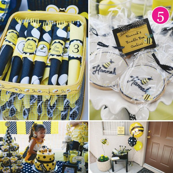 bumble bee party dessert table and birthday girl with her cake. Napkin and cookie detail shots and the entrance setup.