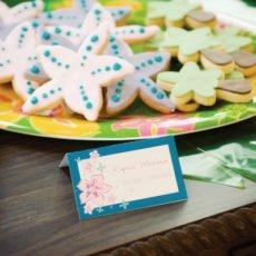 luau birthday party palm tree and starfish cookies