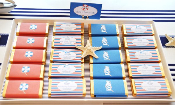 Nautical Christening Party chocolate bar wrappers