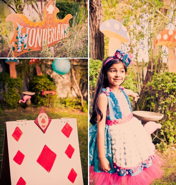alice in wonderland birthday party outfit and backyard decorations
