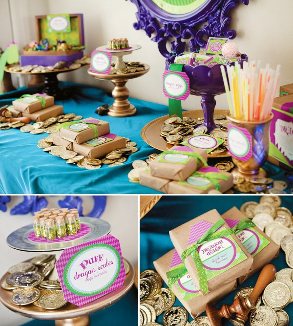 puff the magic dragon birthday party decorations and activities and party favors table