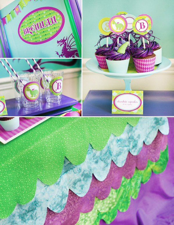 puff the magic dragon birthday party cupcakes, cups and table cloth decor