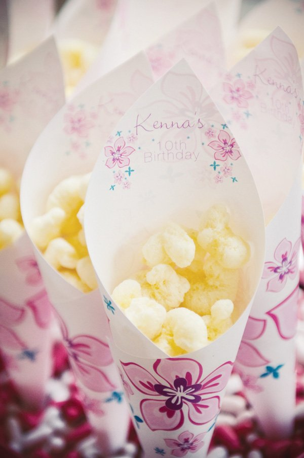 luau birthday party popcorn cones