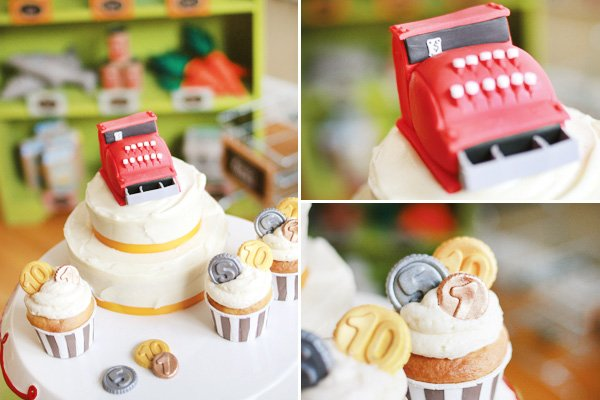 grocery store party cash register cake and coin cupcakes