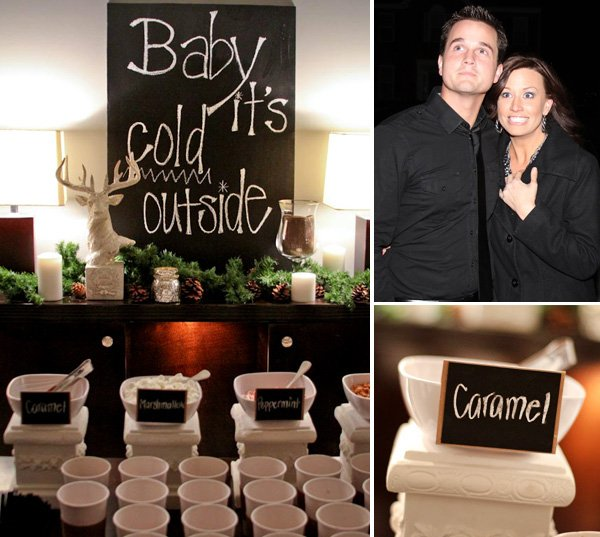 gender reveal party sign and couple