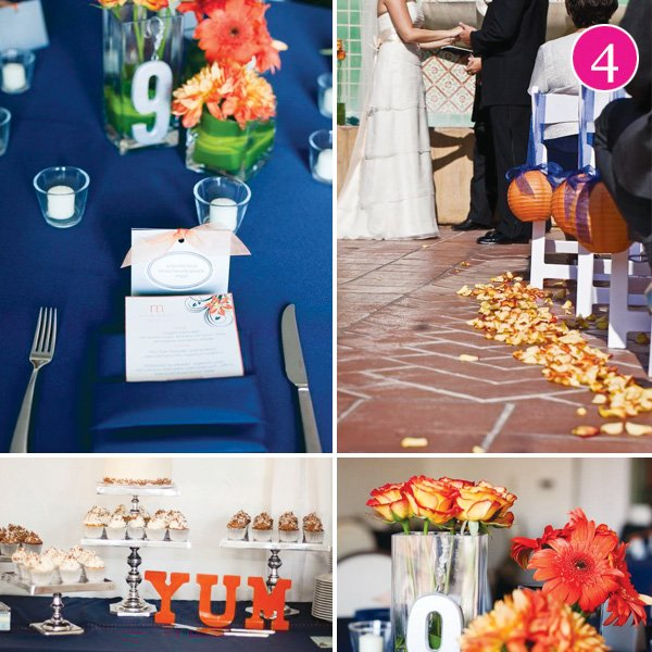 brandy and phil wedding in vibrant blue and orange