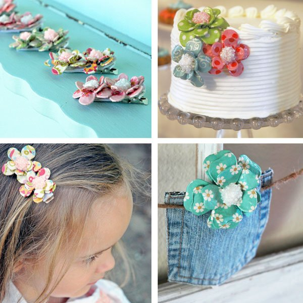 Handmade Paper Flower Hair Clips, Cake Decor and Party Accents