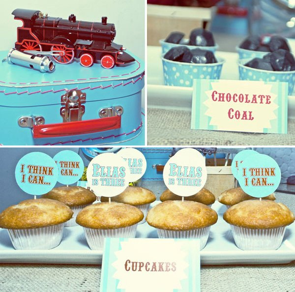 the little engine that could party decoration and cupcake toppers
