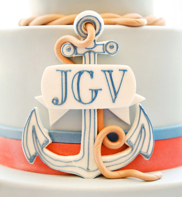 Nautical Christening Party Cake Closeup of Details