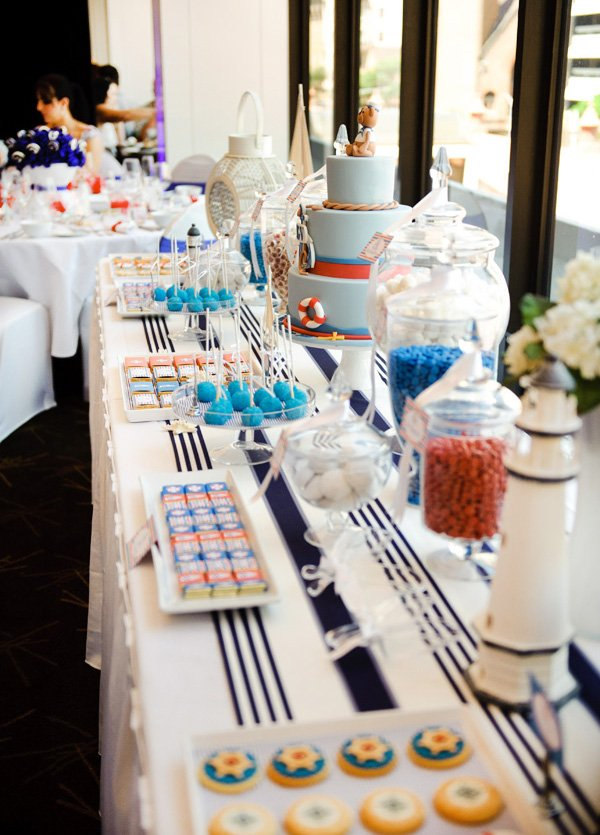 Nautical Christening Party Dessert Table