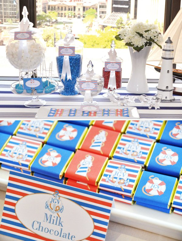 Nautical Christening PartyDessert Table and Chocolate Label Closeup