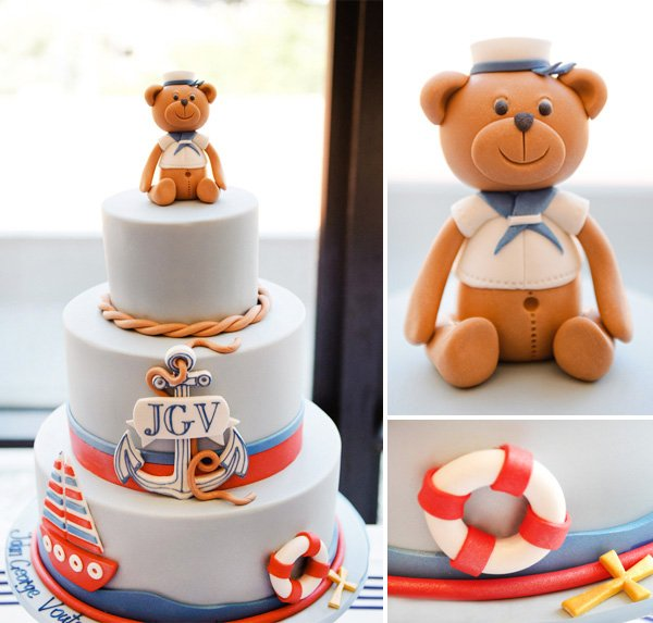 Nautical Christening Party Tier Cake with Details