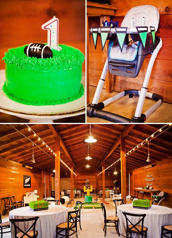 rugby first birthday party cake and decorated high chair with seating arrangement