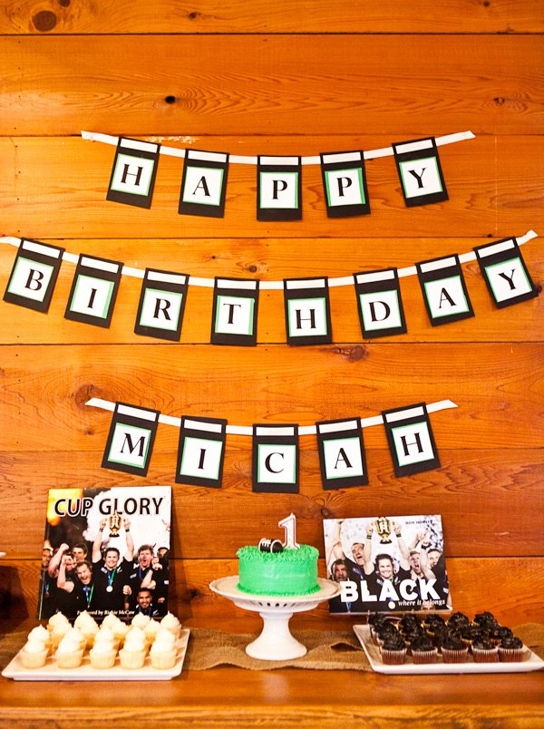 rugby first birthday party dessert table
