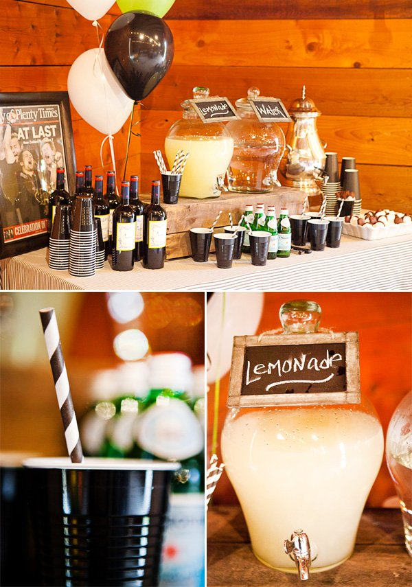 rugby first birthday party drink table with lemonade