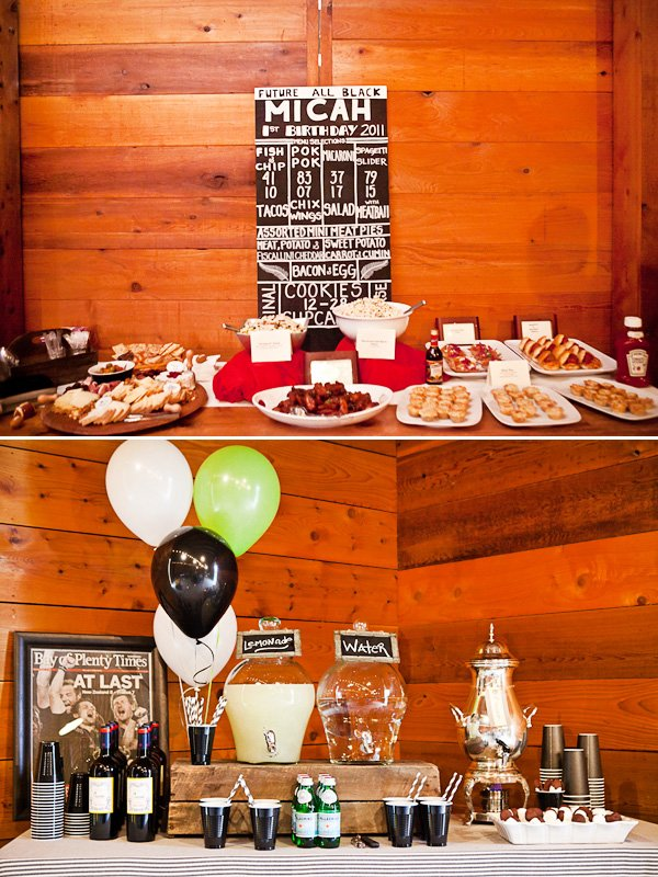 rugby first birthday party food and drink tables